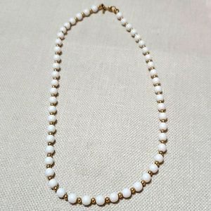 Vintage Monet Necklace w/ White Beads & Gold Tone